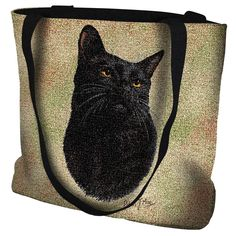 "Artwork by world renowned animal artist, Robert May. 17"" width x 17"" length 32"" black straps. Jacquard woven 100% cotton art tapestry. Not a print. Design is on both sides of the tote bag. Fully lined"