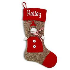 we have stockings, but these are cute with the pocket and sock monkey - Sock Monkey Stocking - Red/White Scarf and other at PersonalCreations.com