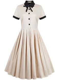 REORIA Womens 1950s Vintage Short Sleeve Modest Casual Swing Cocktail Dress Khaki X-Large at Amazon Women's Clothing store: