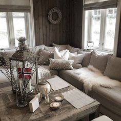 greys and furs Cabin Homes, Home, Cabin Decor, Cozy House, Interior, Cabin Living Room Decor, House, House Interior, Cabin Interiors