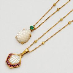 Two Mother-of-Pearl and 18K Gold Necklaces, Mauboussin