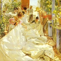 "Joaquín Sorolla Mending the Sail  Oil on canvas 1896, seen this at St.Louis Art museum, on display with originals that were displayed during the world's fair. Absolutely beautiful in person! He is the original ""Painter of light""!"