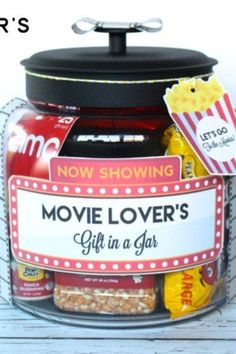s 23 perfect mason jar gifts for everyone on your list, christmas decorations, crafts, mason jars, For Your Movie Enthusiast Friends
