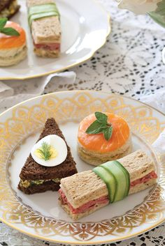 A plate of distinctively shaped sandwiches creates a hearty mix of options that will satisfy late-afternoon appetites. See recipes! - http://victoriamag.com
