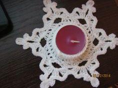 świecznik szydełkowy Tea Lights, Crochet Earrings, Candle Holders, Crochet Patterns, Projects, Christmas, Crafts, Inspiration, Porta Velas