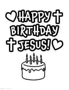 Happy Birthday Jesus Cupcake Coloring Page