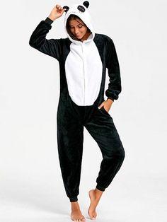 9486d55f20 Cute Panda Animal Onesie Pajamas - Black White S Fleece Animal
