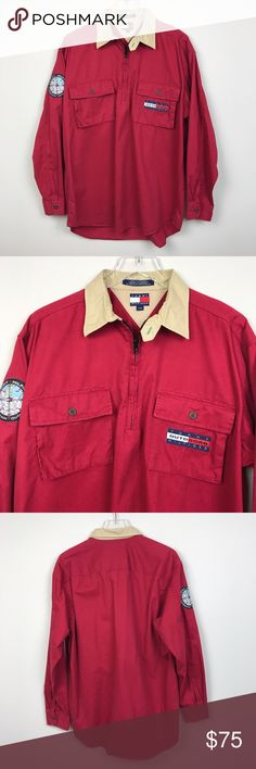 """[Tommy Hilfiger] Vintage Outdoors 1/2 Zip Shirt L Vintage 90's 1/2 Zip Pullover Shirt. Long sleeves with button cuffs. Zip neck. Chest flap pockets. Flag logo patch on left pocket. Expedition Outfitters compass patch on right sleeve. Soft, lightweight cotton.  🔹Pit to Pit: 24"""" 🔹Length: 29"""" - 31"""" 🔹Condition: Excellent pre-owned condition.  *H9 Tommy Hilfiger Jackets & Coats Lightweight & Shirt Jackets"""