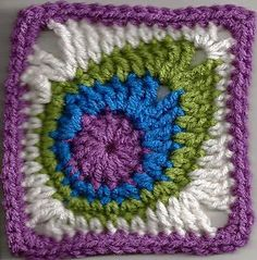 This sweet peacock feather square will make a beautiful blanket. Try out various arrangements of squares to get the look that you want.