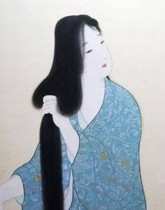 Kaburagi Kiyokata (1878-1972) 鏑木清方 Black Hair 黒髪、1917 [detail of the folding screen painting]
