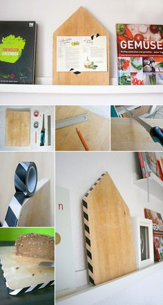 Old cutting board as decoration Deco Cool, Diy Cutting Board, Masking Tape, Diy Hacks, Magazine Rack, Diy And Crafts, Diy Projects, Storage, Wood