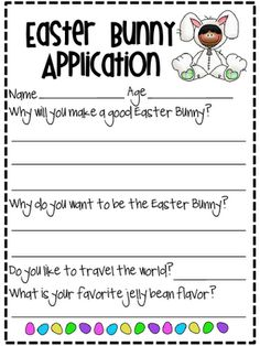 Substitute Teacher, so Why Not a Substitute Easter Bunny A Substitute Easter Bunny Application- perfect for persuasive writing! {freebie}A Substitute Easter Bunny Application- perfect for persuasive writing! Persuasive Writing, Teaching Writing, Writing Activities, Writing Prompts, Teaching Ideas, Writing Ideas, Easter Activities, Preschool Projects, Time Activities