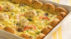 An impressive presentation for breakfast or brunch, this egg and shrimp dish is as tasteful as it is tasty.
