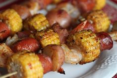 Shrimp Boil Kabobs...I can't wait to make this sans the sausage I'll substitute with Tofurky Kielbasa!!!