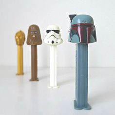Star Wars PEZ Dispensers Set of 4 - 1990s Kids Star Wars Collectible PEZ Toys - Boba Fett, Chewbacca, C-3PO and Stormtrooper