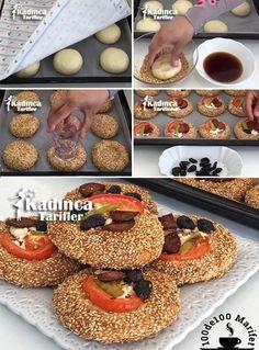 Wie man Mini Pizza Donut mit Sesam, How-To - Kadınca Tarifler - Essen und Trinken Pizza Donut Recipe, Donut Recipes, New Recipes, Cake Recipes, Tofu, Sesame Bagel, Homemade Pizza Rolls, Turkish Sweets, Mini Pizza