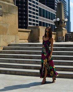 We LOVE this bright floral maxi dress for summer!