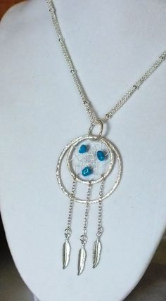 Sterling Silver Sleeping Beauty Native American Inspired Dreamcatcher Necklace One of a Kind - Mothers Day Sale