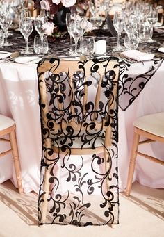 Black lace chair cover -