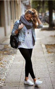 Leggings And Breton Stripes - Image From Pinterest