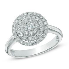 1/2 CT. T.W. Diamond Layered Frame Ring in 10K White Gold