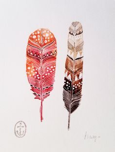 Red & Brown Feather study watercolor by AnchorsEndDesigns on Etsy, $25.00