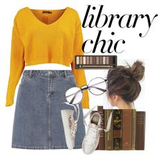 """""""Library Chic"""" by angelin2 ❤ liked on Polyvore featuring Boohoo, A.P.C. and Urban Decay"""