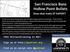 #SanFrancisco folks who banned hollow points related to folks who think mag limits hurt bad guys more? #tcot #2A #CCW