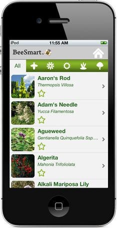 Bee Smart Pollinator Garden App. Database of neaerly 1,000 native plants. Filter your plants by what pollinators you want to attract, light and soil requirements, bloom color and plant type. (available on the APP store and available on the Android Market)