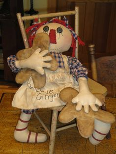 Cloth Raggedy Ann With Gingerbread Men