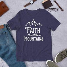 Faith Can Move Mountains Christian T-Shirt - Heather Midnight Navy / 4XL