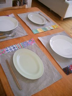 Sew. Quilted Linen & Vintage Fabric Placemats