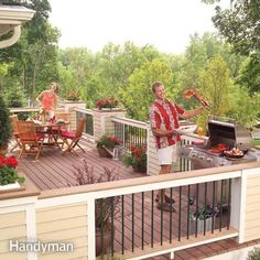 Build this spacious, semi-private deck, which features planters, a handsome railing, low voltage lighting and a wide range of low maintenance, durable mater