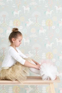 Majvillan Unicorns Wallpaper in Grey. Playful kids wallpaper with a nordic influence. Non-Woven Wallpaper (paste the wall) Washable & Eco-Friendly Roll Size: x Repeat: Straight Match
