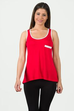 Tailback Tank - Red With White