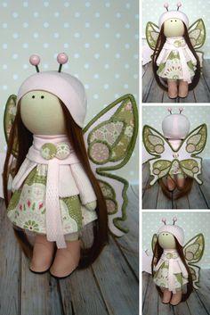 Rag doll Butterfly doll Tilda doll Cloth doll Handmade doll Muñecas Art doll Fabric doll Baby doll Green doll Bonita Textile doll by Olga G