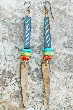 Tribal-Style Turquoise, Green and Orange Coconut Wood Dangle Earrings African Earrings, Tribal Earrings, Beaded Earrings, Earrings Handmade, Handmade Jewelry, Wood Earrings, Tribal Style, Tribal Trends, Unusual Jewelry