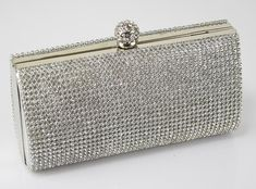 Evening Clutch Bags | Ladies silver crystal box evening wedding party clutch. Clasp opening ...