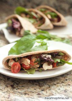 Chicken caprese salad pita on iheartnaptime.com #recipes