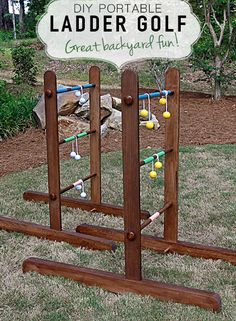 Ladder golf is a great backyard game for the whole family. Build your own portable version out of wood.