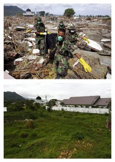 Indonesian soldiers remove the body of a 2004 tsunami victim near a mosque in Banda Aceh, on the northern part of the Indonesian island of Sumatra January 2, 2005 (top), and a view of the same area, December 5, 2009 (bottom).