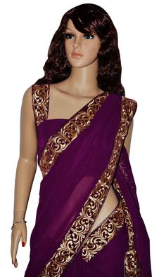 dark purple saree - Google Search