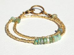 Emerald Green Wrap Bracelet With Chrysoprase and Golden Beads on Etsy, $36.00