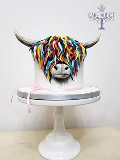McCoos cake by Cake Addict Cow Birthday Cake, Animal Birthday Cakes, Animal Cakes, 50th Birthday, Cow Cakes, Cupcake Cakes, Fondant Cake Designs, Cupcake Cake Designs, Cake Pops Frosting