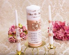 Blush and Rose Gold Personalized Wedding Unity Candle Set Wedding Unity Candles, Gold Candles, Taper Candles, Jewel Colors, Rose Gold Foil, Candle Set, Burning Candle, Personalized Wedding, Blush