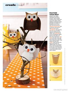 Spooktacular School Crafts Inspiration and Treats by Bella Bella Studios~Halloween owls made from toilet paper rolls and cupcake liners. #Halloween #spooky #crafts #holiday #trickortreat #treats #ghost #gobblin #witch #pumpkin