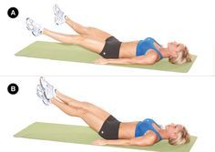 See your lower abs faster with this workout. SCISSOR Target Muscles: rectus abdominis, transverse abdominis, obliques Set up: Lie on your back on a mat with your arms extended by your sides or tuck your hands beneath your lower back [A]. Action: Lift your feet off the floor and slowly open your legs [B], then cross your right ankle over the left; open and cross in the other direction for one rep. Do three sets of 20 reps on both sides or until failure.