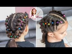 Braids with pigtails colors Easy Little Girl Hairstyles, Easy Toddler Hairstyles, Kids Curly Hairstyles, Pigtail Hairstyles, Baby Girl Hairstyles, Creative Hairstyles, Braided Hairstyles, Girl Hair Dos, Crazy Hair Days