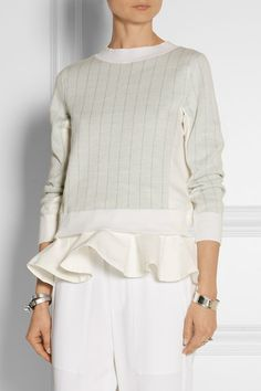 SACAI Sacai Luck ruffled cotton and linen-blend sweater