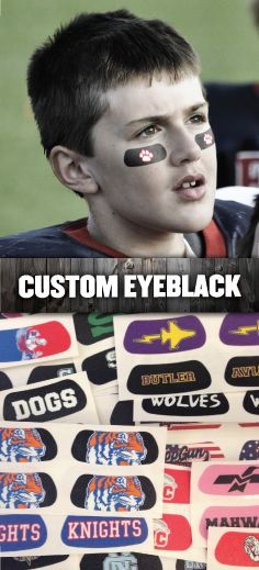 Custom Eye Black for football teams and organizations.  For a free virtual sample email your logo, team name, or idea to vs@eyeblack.com.  Starting at 89 cents per pair for 50 pairs.  All artwork and set-up is free.  Durable, easy to apply and remove. https://www.eyeblack.com/custom-eyeblack/?___SID=U